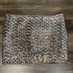 Gold/Bronze Sequin Mini Skirt by Olivaceous